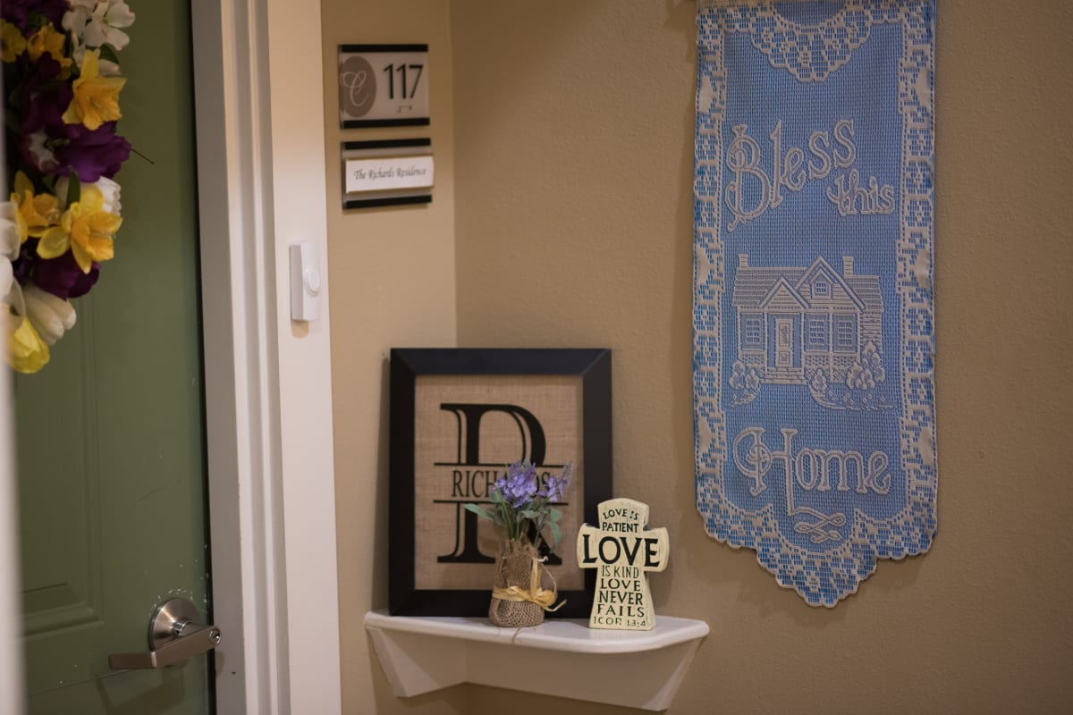 Personalized entries make each resident feel at home at The Claiborne at Hattiesburg Assisted Living in Hattiesburg, Mississippi.