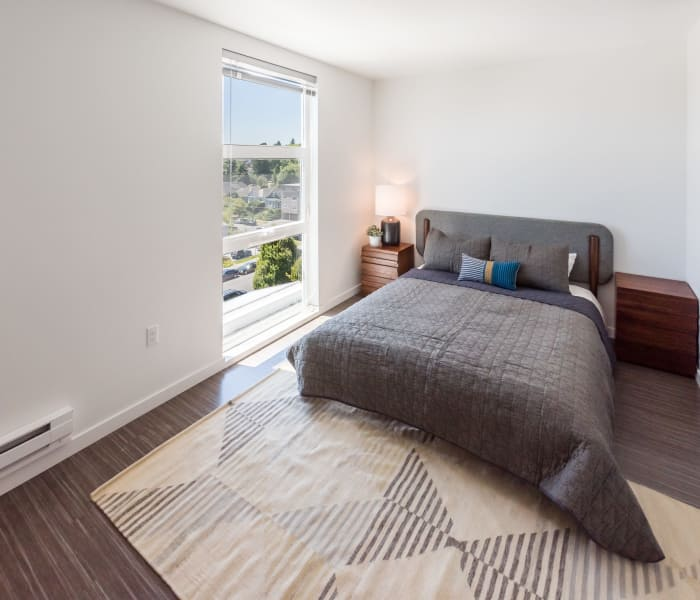 Large bedroom windows at Session Apartments in Seattle, WA