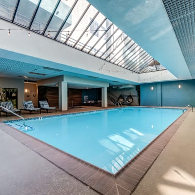 Indoor swimming pool area at Vue Los Feliz in Los Angeles, California