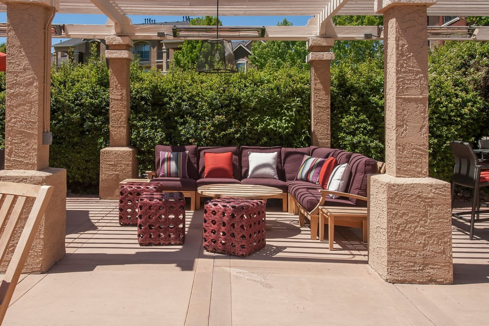 Covered lounge at the fire pit area at The Vintage at South Meadows Condominium Rentals in Reno, Nevada