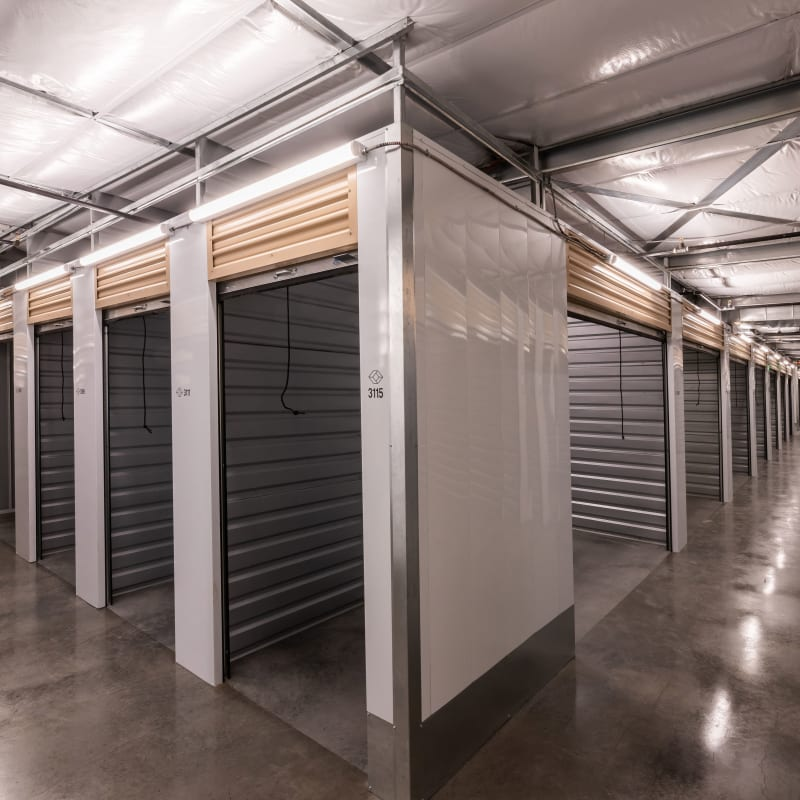 Indoor storage units in a variety of sizes at Cubes Self Storage in Kirkland, Washington