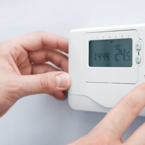 Temperature control thermostat at Red Dot Storage in Glenwood, Illinois