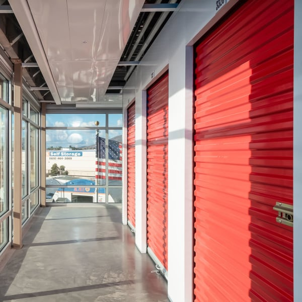 Interior units with red doors at StorQuest Self Storage in La Mesa, California