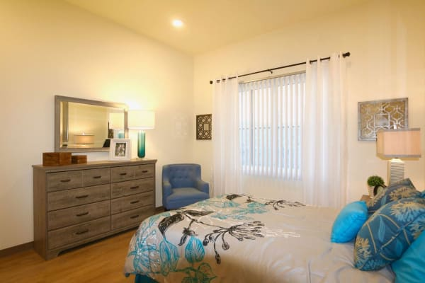 Bedroom at Sun Oak Senior Living in Citrus Heights, California