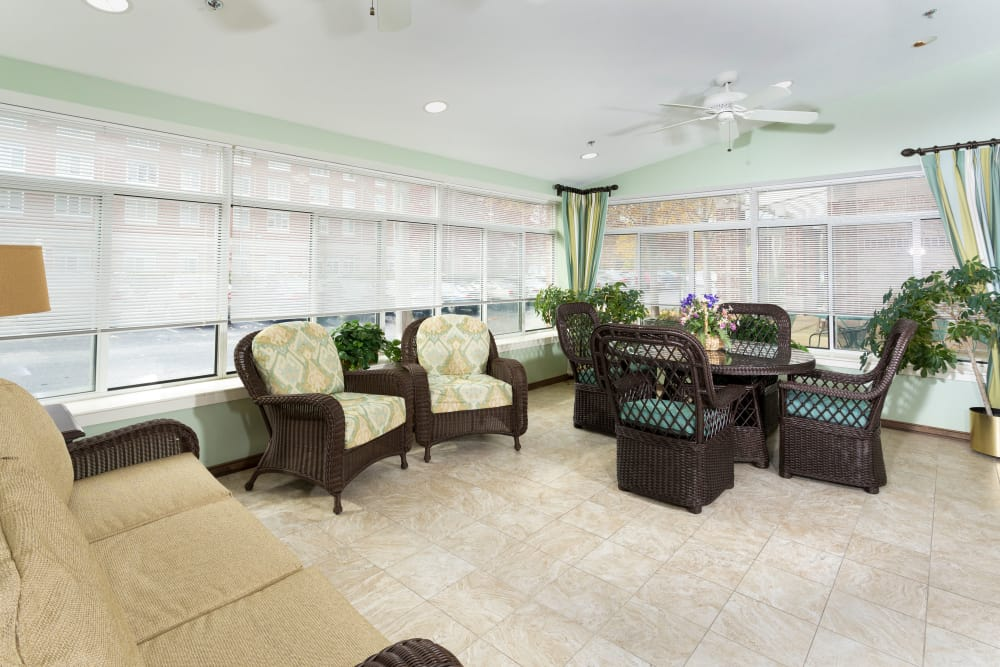 Beautiful sun room at Weinberg Gardens and Weinberg Terrace in Pikesville, Maryland