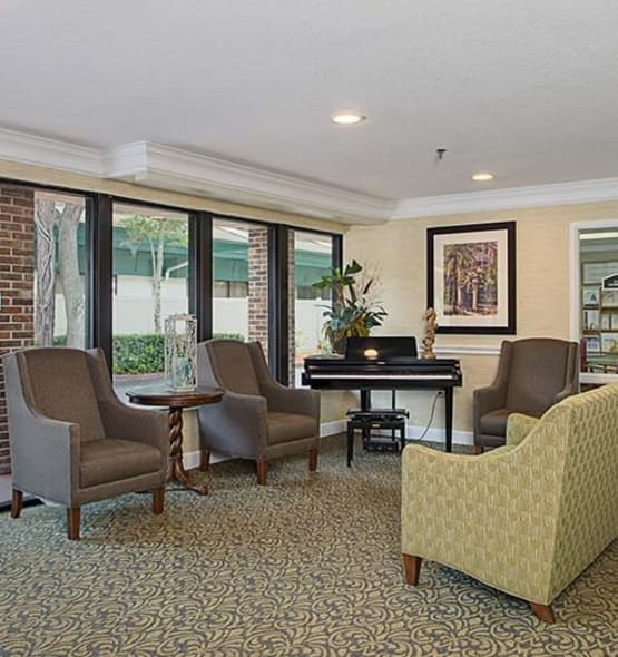 A view into the beauty and comfort our senior living community provides here at Grand Villa of Ormond Beach in Florida