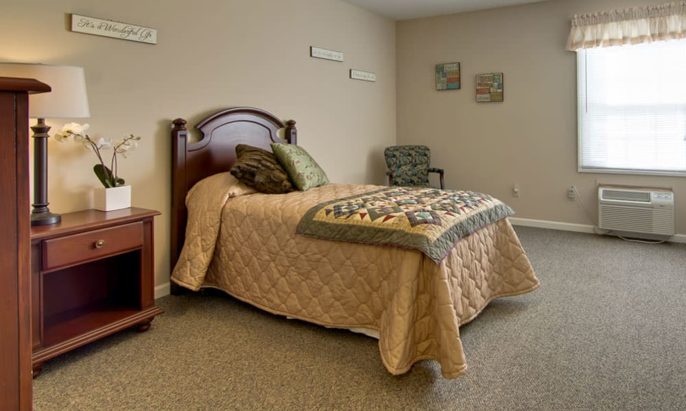 Cozy floor plan for assisted living residents at South Pointe Senior Living in Washington, Missouri