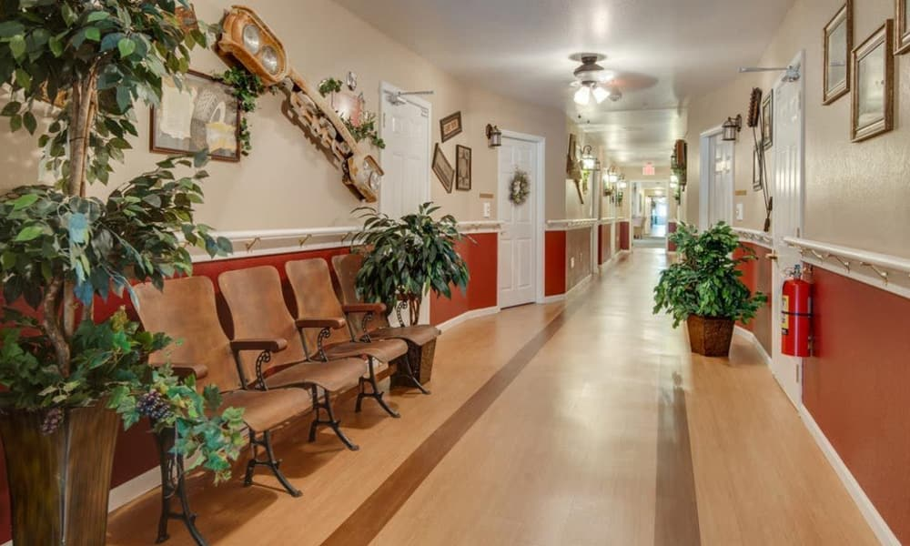 Decorated hallway of Victorian Place of Washington Senior Living in Washington, Missouri