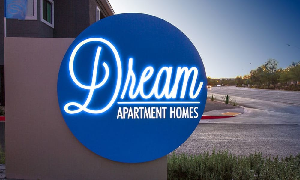 Our sign at Dream Apartments welcomes residents and their guests to our luxury community in Henderson