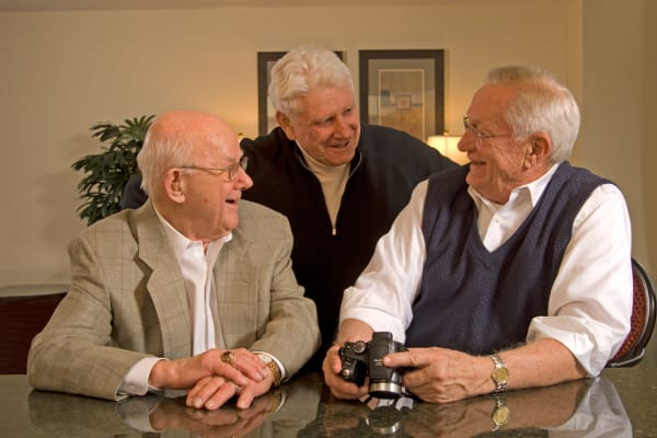 Resident friends chatting at Carefield Living.