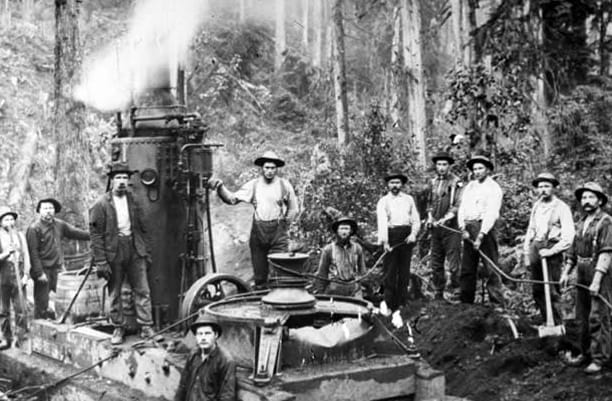 Black and white photo, a group of loggers stand around machinery in the forest