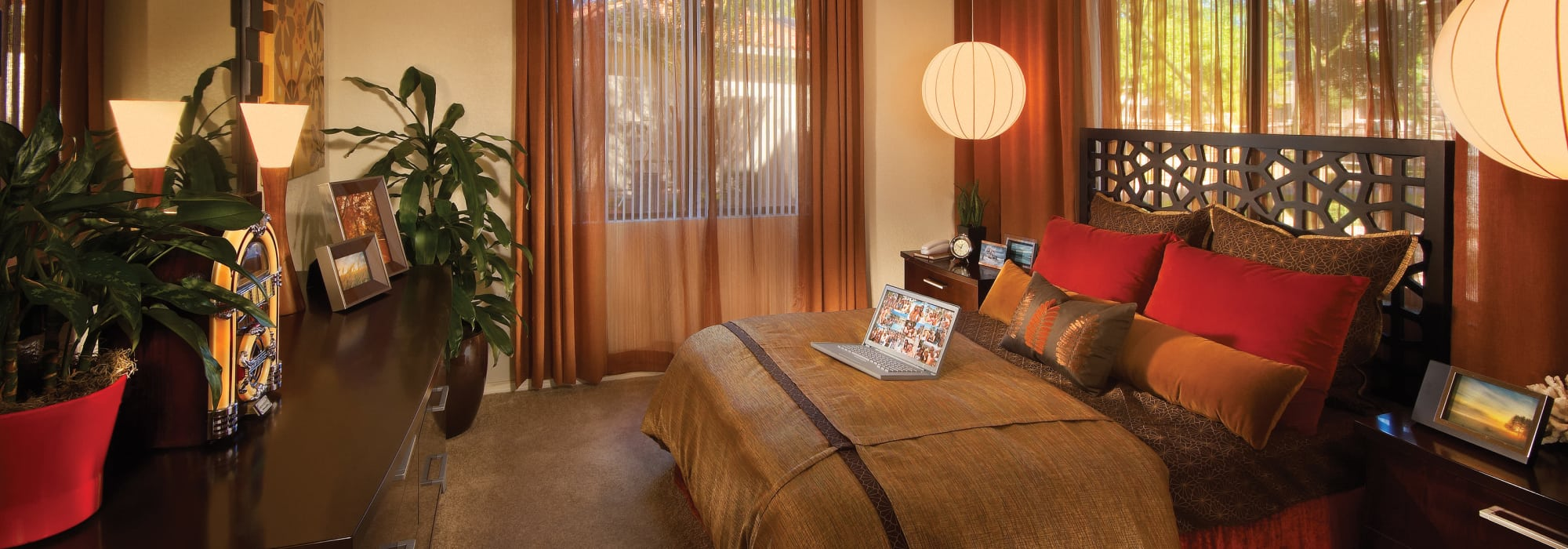 Decorated bedroom at San Marbeya in Tempe, Arizona