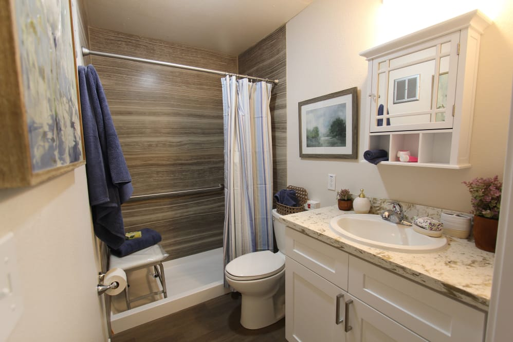 Private bathroom with step in shower at The Village Senior Living