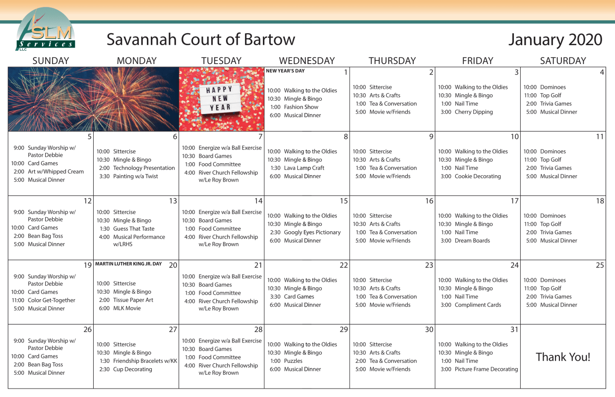 View our monthly calendar of events at Savannah Court of Bartow