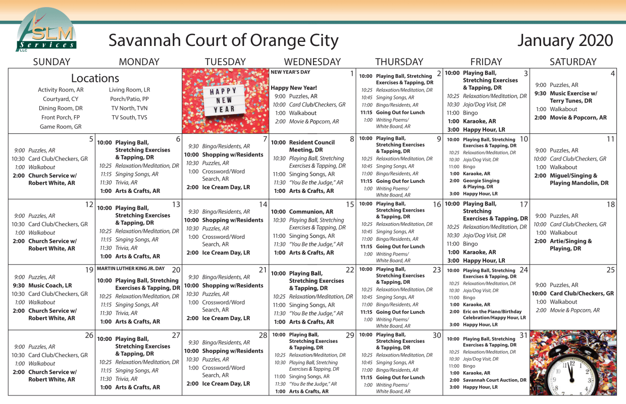 View our monthly calendar of events at Savannah Court of Orange City