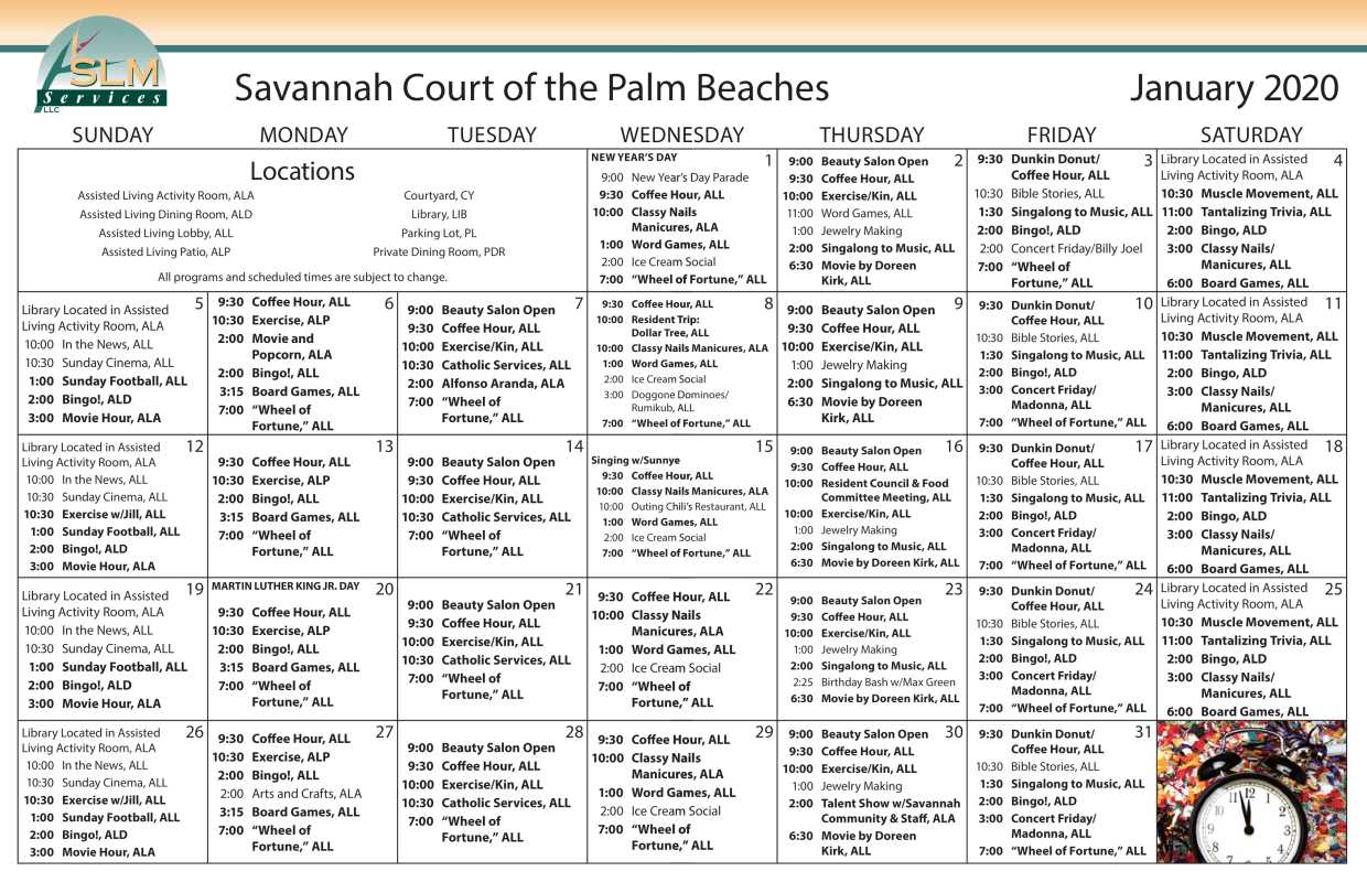 View our monthly calendar of events at Savannah Court of the Palm Beaches