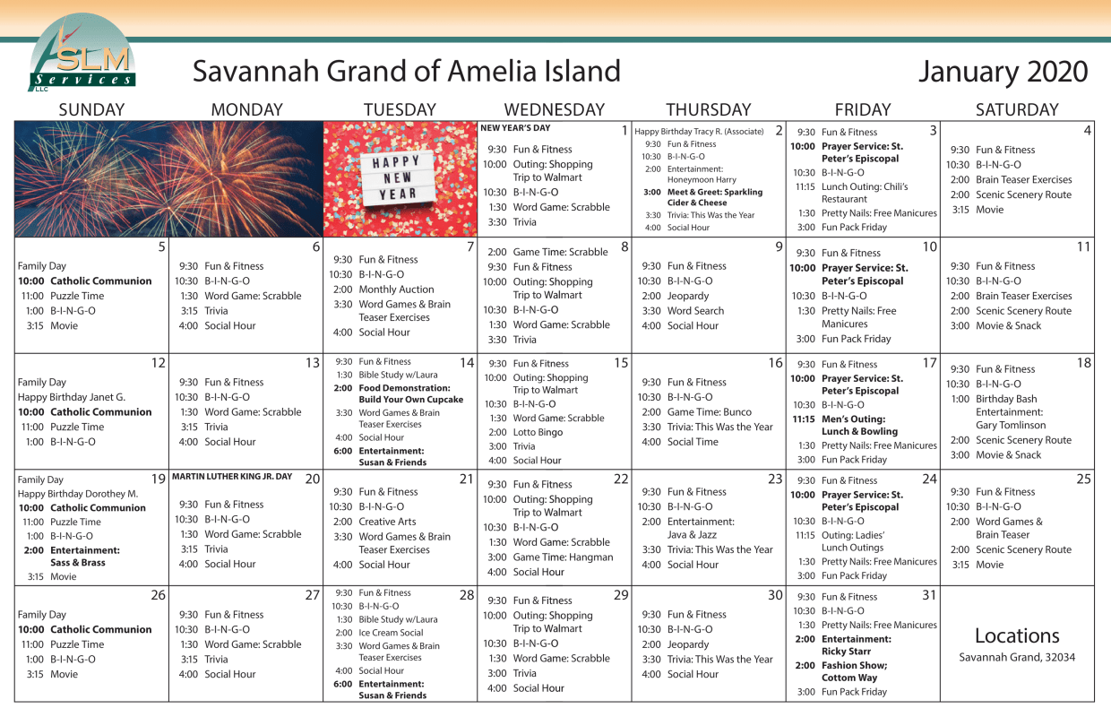 View our monthly calendar of events at Savannah Grand of Amelia Island