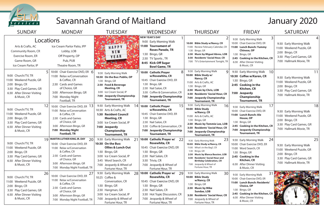View our monthly calendar of events at Savannah Grand of Maitland