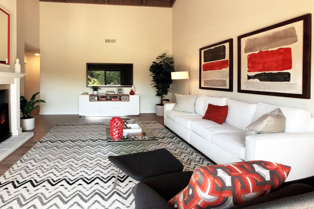 Large living room at Glenbrook Apartments in Cupertino, California