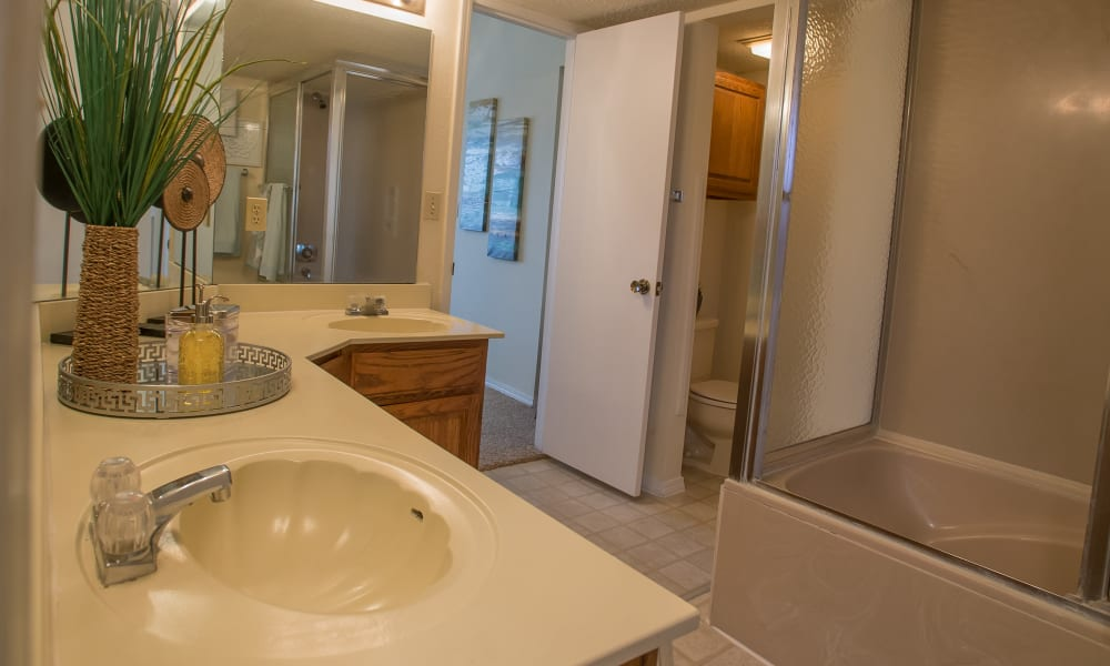 Bathroom at Creekwood Apartments in Tulsa, Oklahoma
