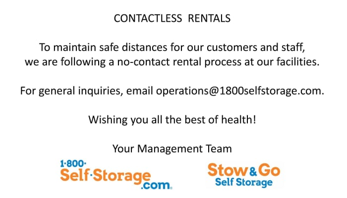 Contactless rentals from 1-800-Self-Storage.com of Wixom in Wixom, Michigan