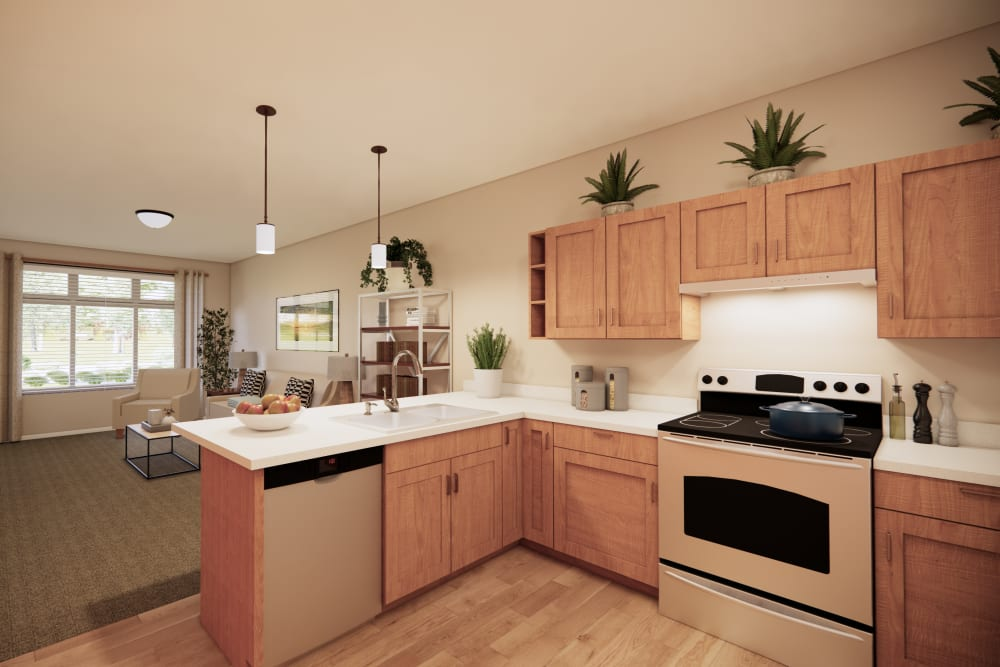 Open kitchens at Broadwell Senior Living in Kearney, Nebraska