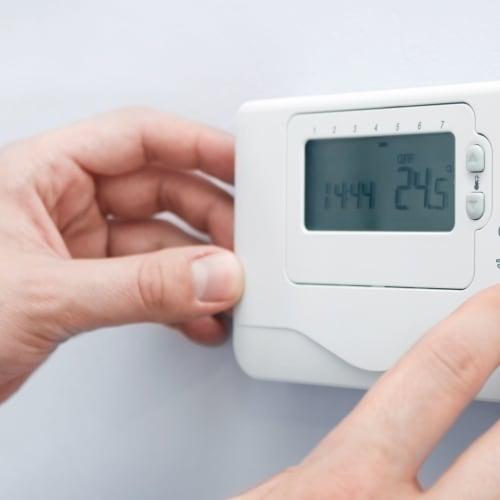 Temperature control thermostat at Red Dot Storage in Bloomington, Illinois