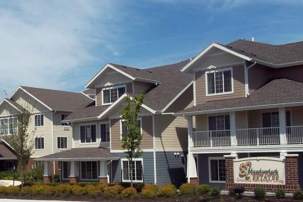 Building exterior of Meadowlark Estates Gracious Retirement Living in Lawrence, Kansas