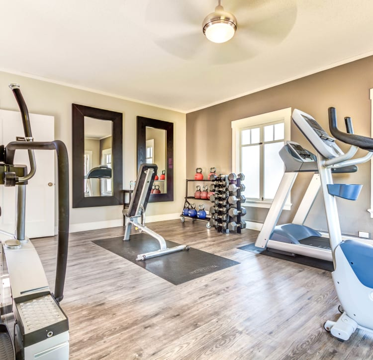 Cardio equipment and more in the fitness center at The Landmark Apartment Homes in Sunnyvale, California