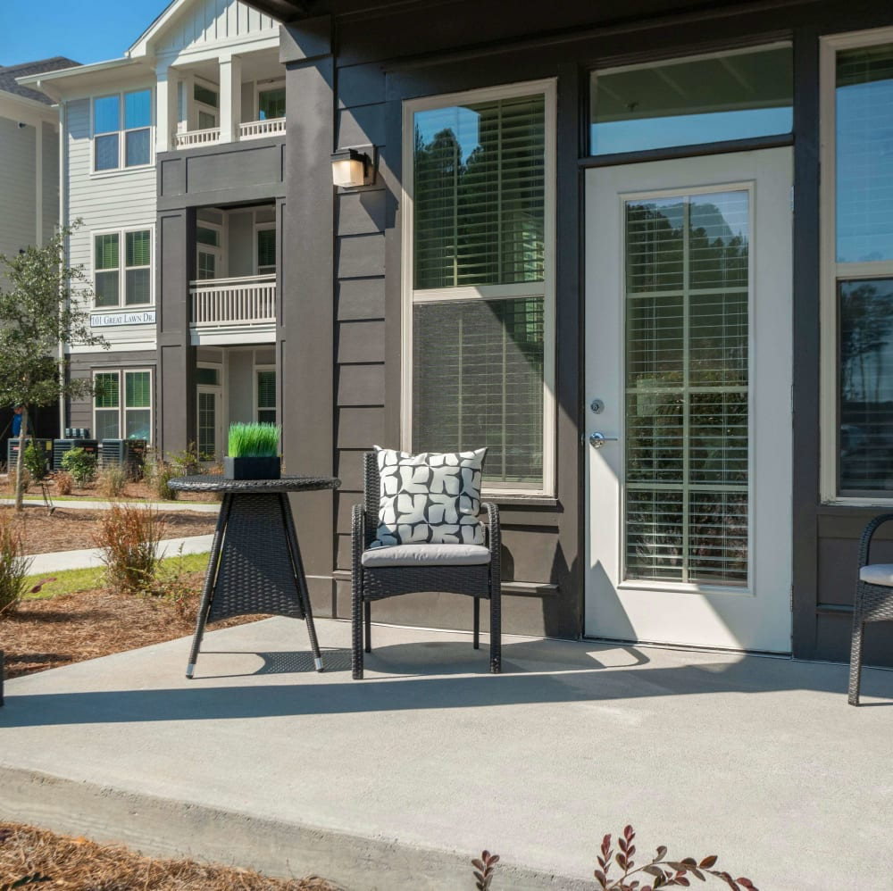 Resident back porch at Elevate at Brighton Park in Summerville, South Carolina