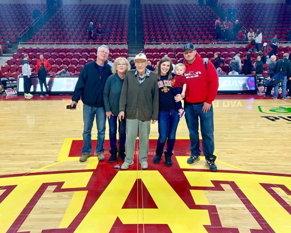 Resident Bill at a basketball game for his dare to dream event from Landings of Sauk Rapids in Sauk Rapids, Minnesota.
