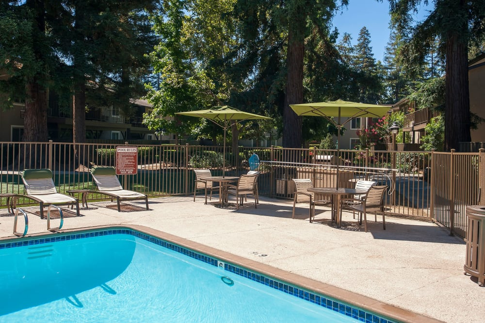 Spacious sundeck with table and chairs next to a swimming pool at Flora Condominium Rentals in Walnut Creek, California