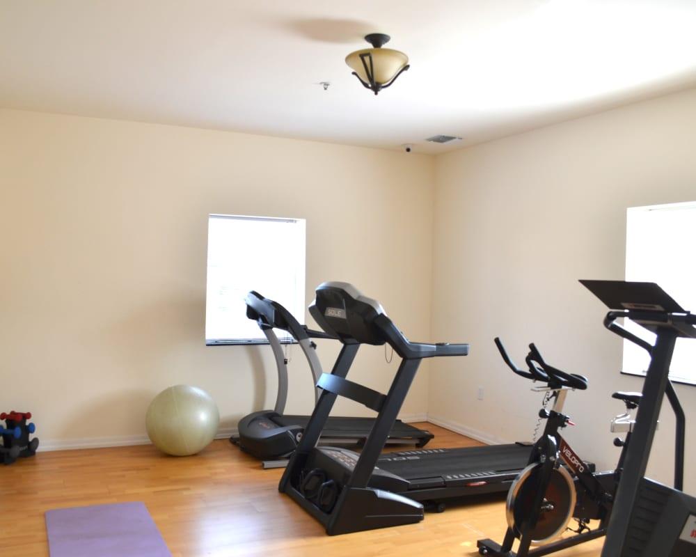 Indoor fitness room at Bunt Commons II in Copiague, New York