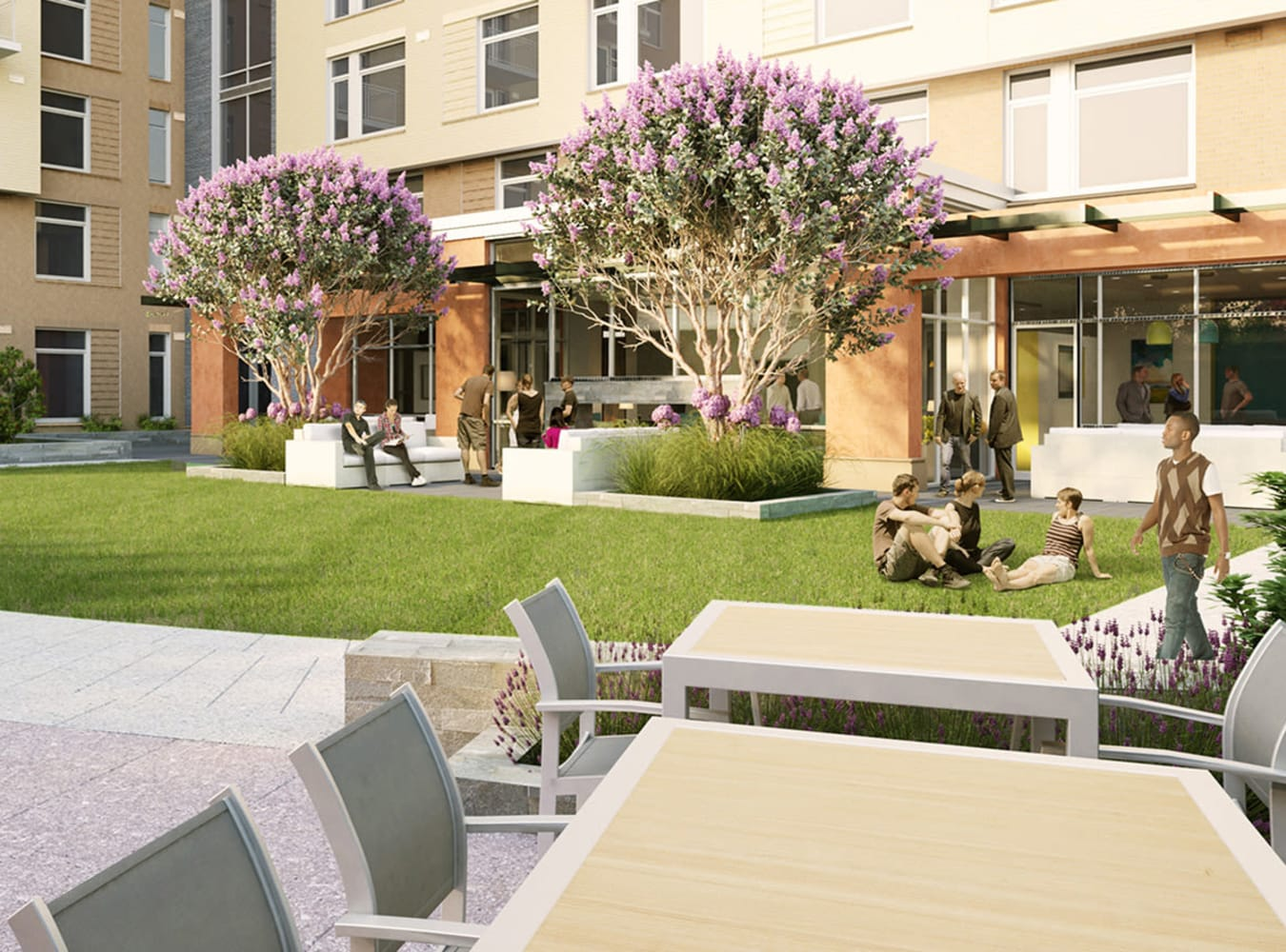 Outdoor patio area with plenty of seating at Solaire 8250 Georgia in Silver Spring, Maryland