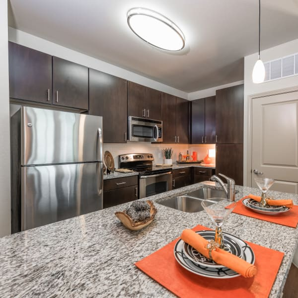 Modern, fully equipped kitchen at Jefferson Westshore in Tampa, Florida