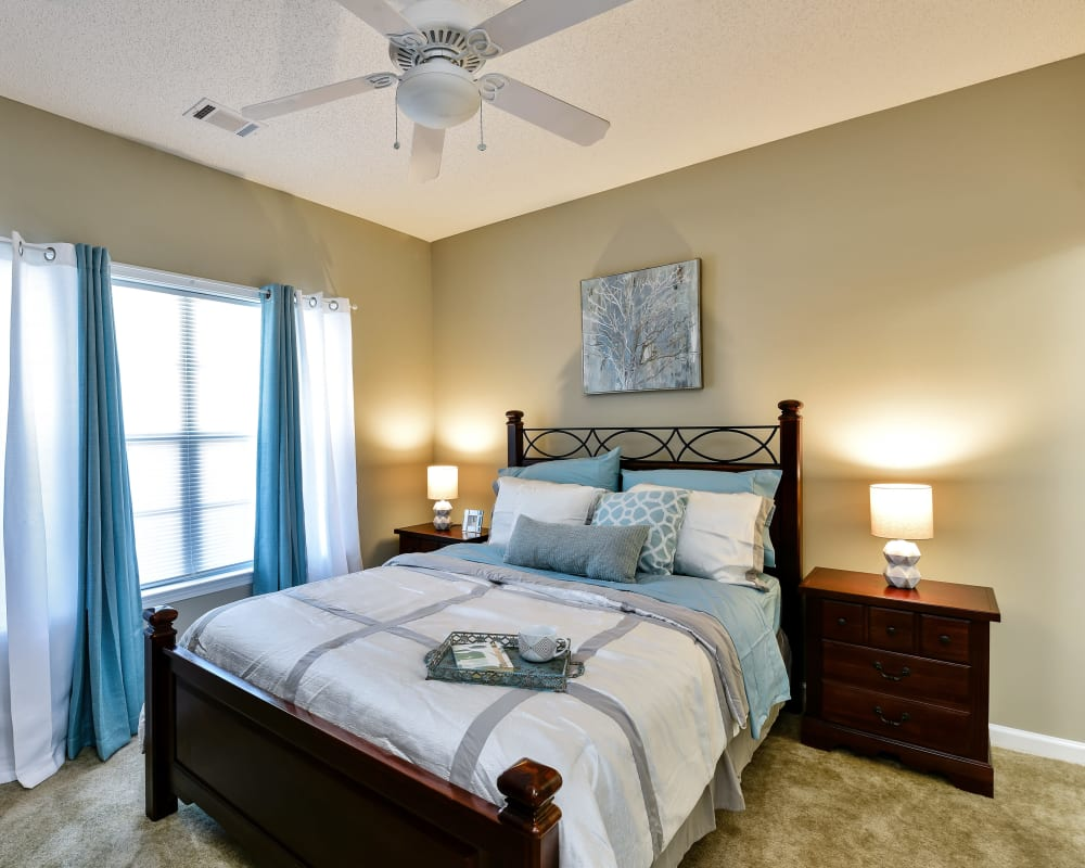 Bedroom with a ceiling fan at Hunter's Run in Macon, Georgia