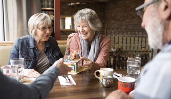 Residents bonding over coffee at Anthology of Tuckahoe in Henrico, Virginia