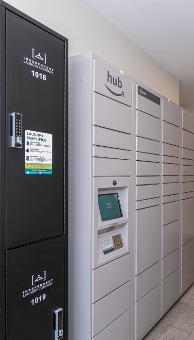 Laundry service and secure Amazon package lockers at The Station at River Crossing in Macon, Georgia