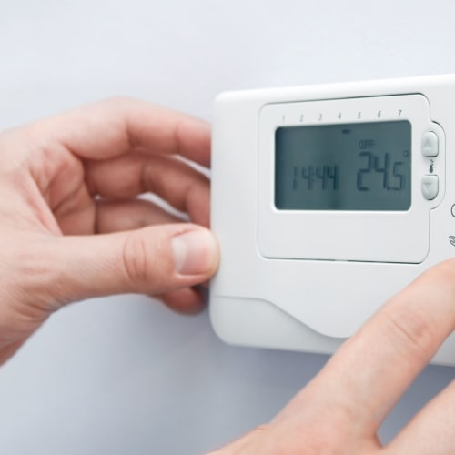 A thermostat for climate control at Red Dot Storage in Decatur, Illinois