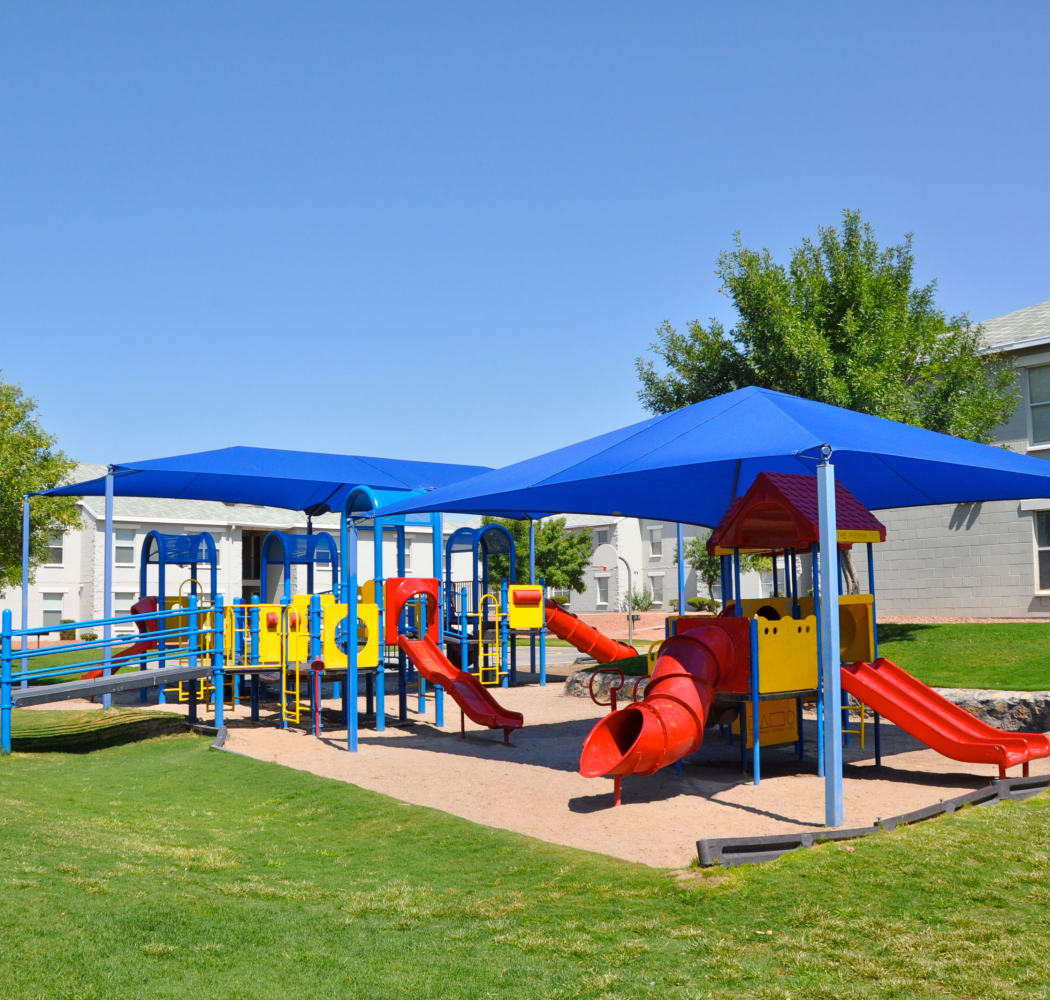 Covered playground at The Phoenix Apartments in El Paso, Texas