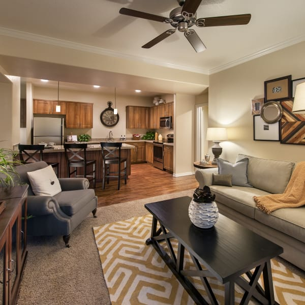 Well-decorated living area with ceiling fan in open-concept floor plan of model home at San Paseo in Phoenix, Arizona