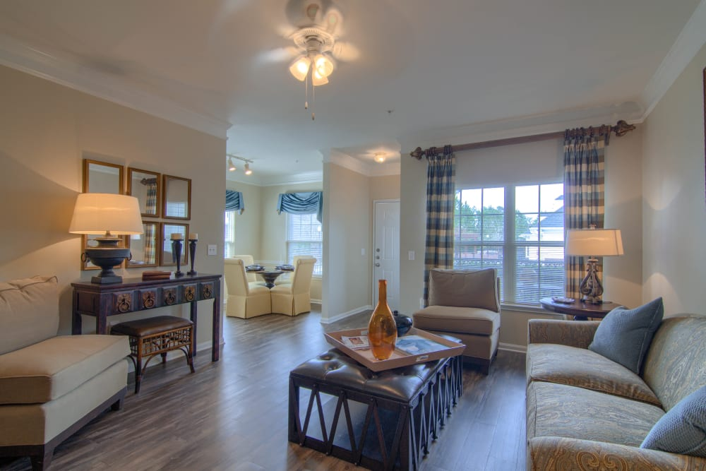 Large, spacious living room at Reserve at Long Point in Hattiesburg, Mississippi
