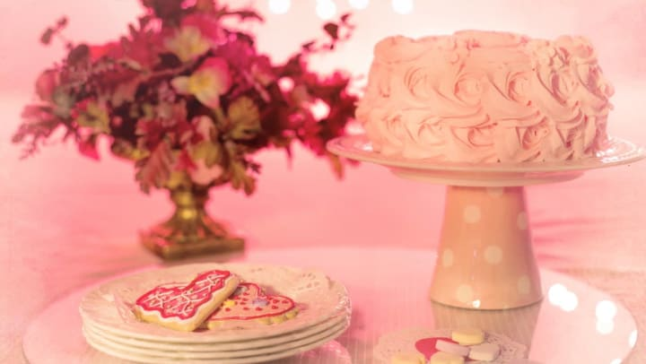 Pink chiffon cake and cookies from bakery near Olympus at the District in South Jordan, Utah