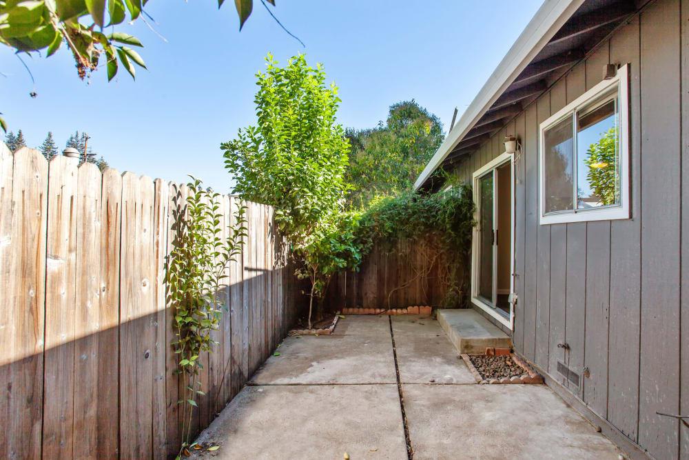 Beautifully manicured patio area at Spring Lake Apartment Homes in Santa Rosa, California