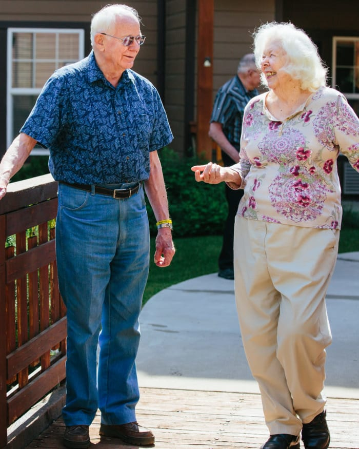 Residents walking to the fitness center at The Springs at Missoula in Missoula, Montana