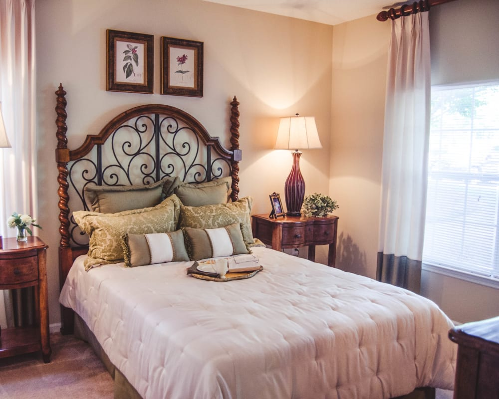 Cozy bedroom at Lullwater at Saluda Pointe in Lexington, South Carolina