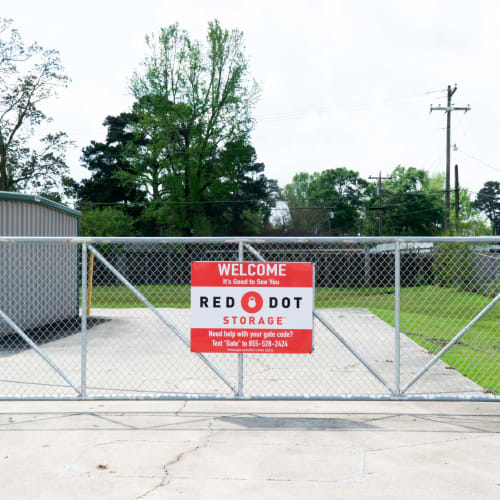 Entrance gate at Red Dot Storage in Denham Springs, Louisiana