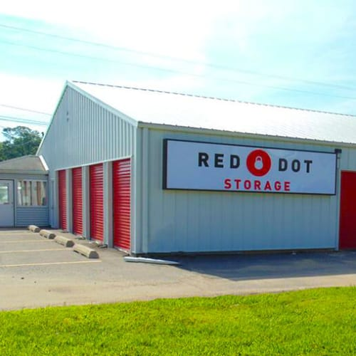 Outdoor units with Red Dot Storage sign at Red Dot Storage in Slidell, Louisiana
