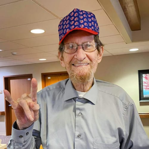 Happy resident at The Oxford Grand Assisted Living & Memory Care in Wichita, Kansas