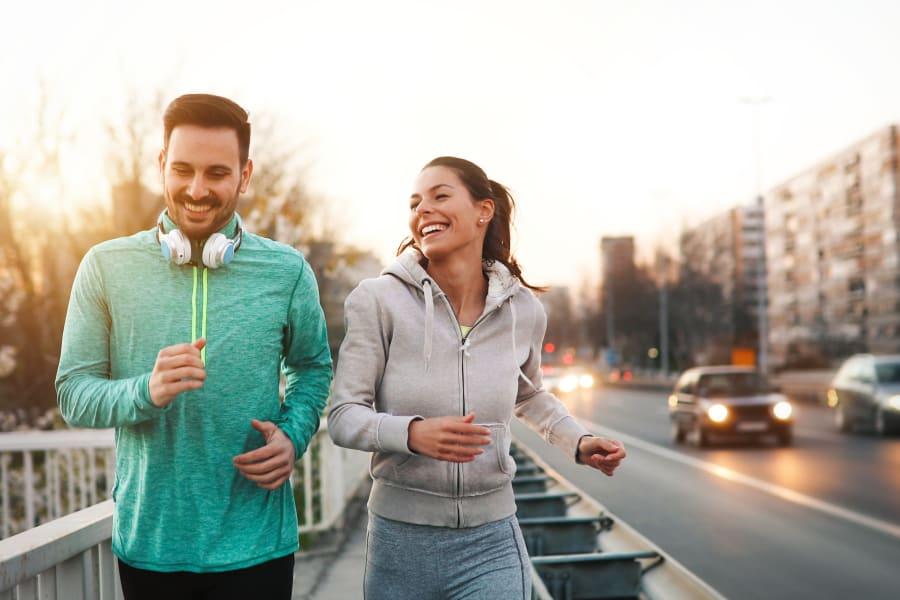 Residents out for a jog near Mia in Palo Alto, California